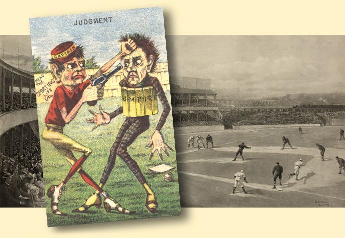 Illustration of 19th Century ballplayer holding a gun to an umpire's head