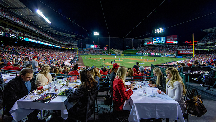Club dining behind home plate at Angel Stadium