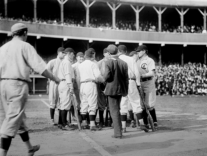 Cubs and Giants argue at the Polo Grounds, October 1908