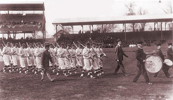 Players doing war drills at Washington's Griffith Stadium