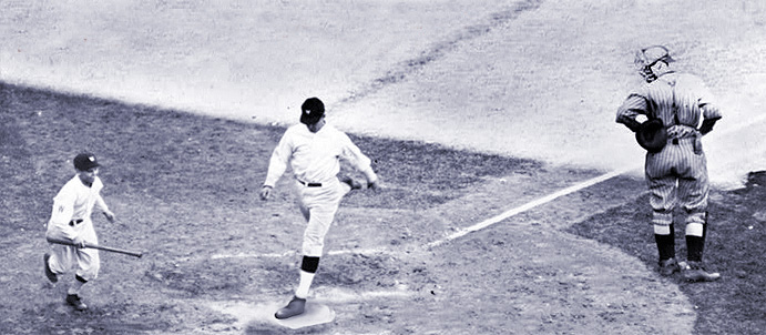 Bucky Harris scores in the World Series