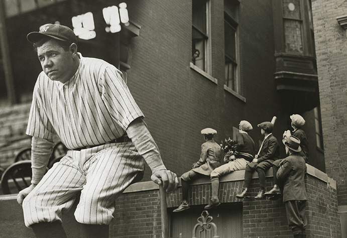 Babe Ruth and a group of concerned young baseball fans