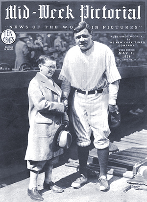 Magazine cover with Babe Ruth and Johnny Sylvester