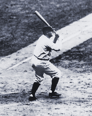 Babe Ruth hitting his 60th home run in 1927