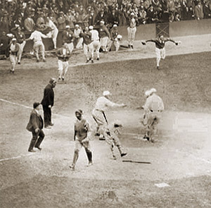 The A's score the winning run in the 1929 World Series