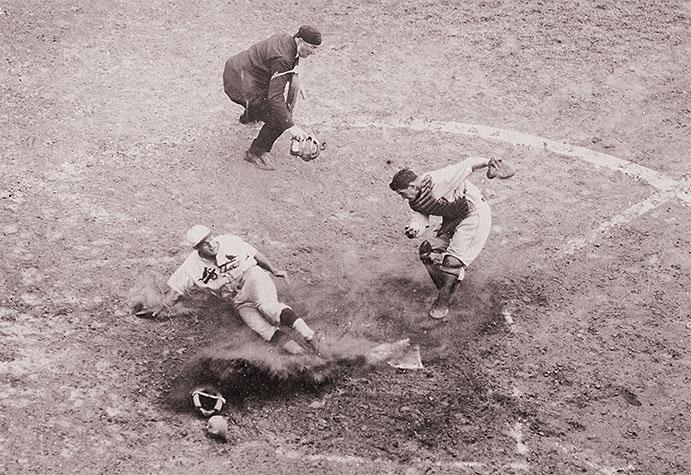Pepper Martin slides home during 1931 World Series