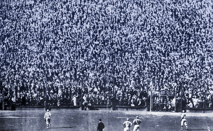 Angry Detroit fans pelting Cardinals fans with various objects, 1934 World Series