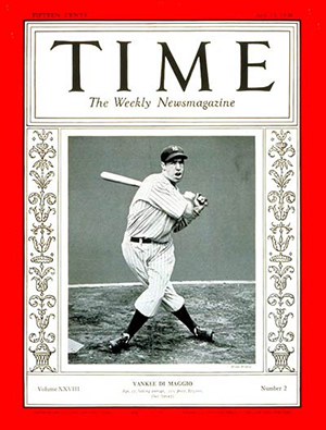 Joe DiMaggio on the cover of Time Magazine