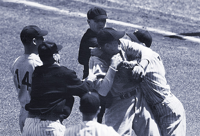 Jake Powell and Joe Cronin tangle in a 1938 on-field brawl
