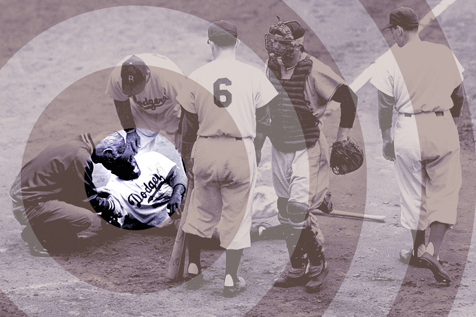 Jackie Robinson after getting hit by a pitch
