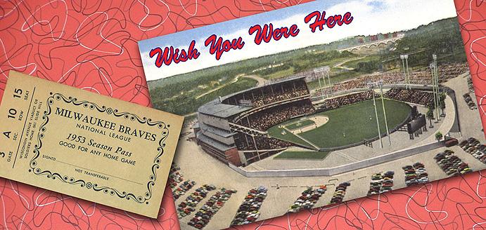 Milwaukee County Stadium and season ticket pass to 1953 Braves season