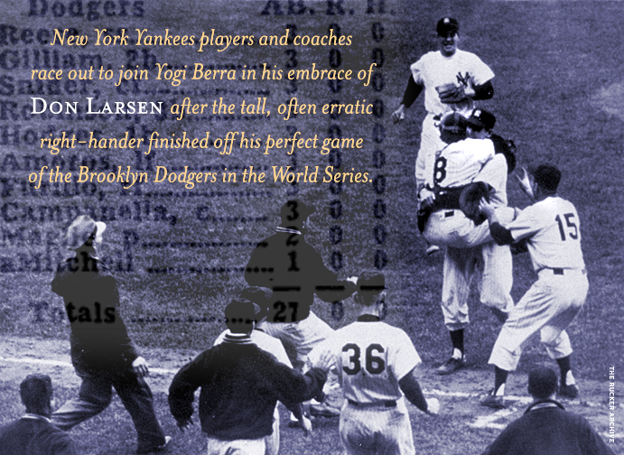 Don Larsen celebrates his perfect game in the 1956 World Series