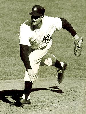 Don Larsen pitching during his perfect game in 1956