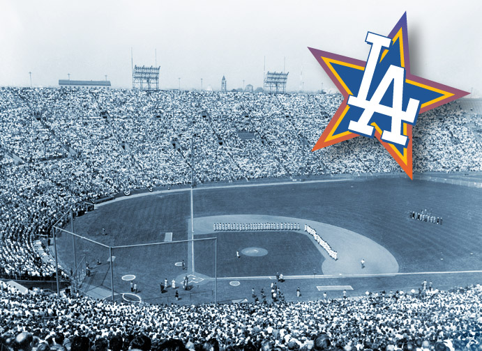 Dodgers' first game at Los Angeles Memorial Coliseum, 1958