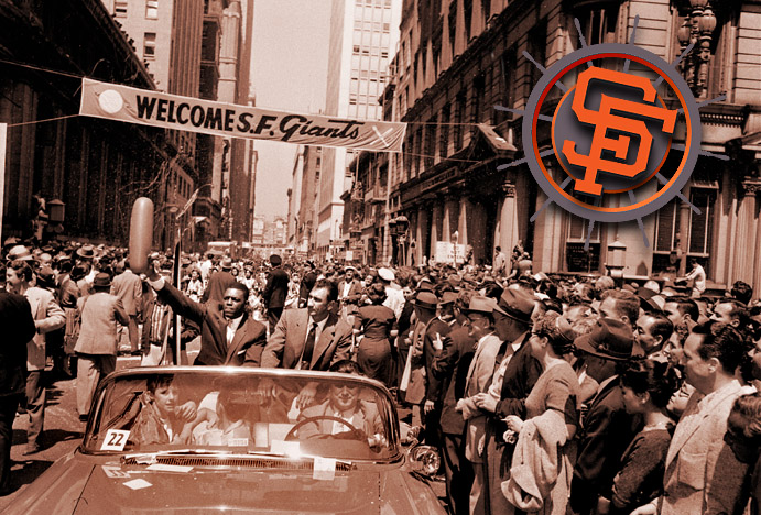 Willie Mays at parade welcoming Giants to San Francisco