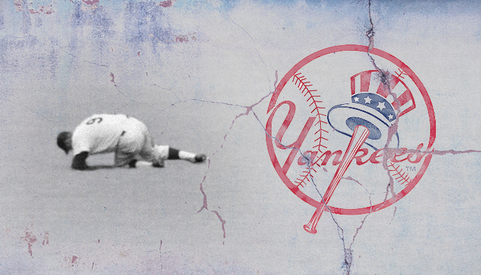 Roger Maris hurts himself in the outfield amid a crumbling Yankees logo