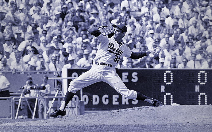 Sandy Koufax pitching the last game of his career during the 1966 World Series