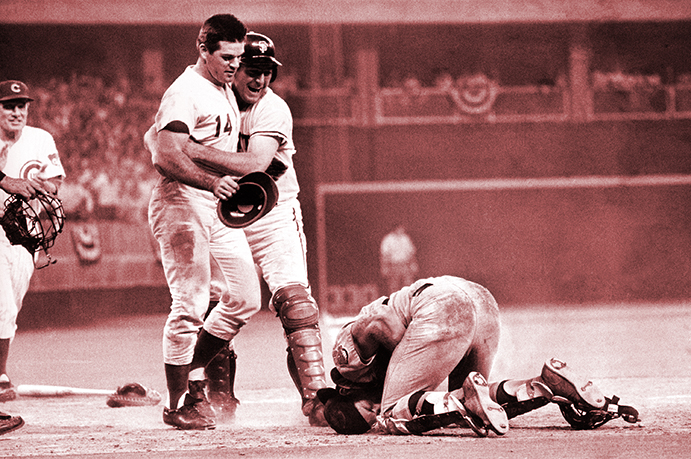 Pete Rose after bowling over Ray Fosse in the 1970 All-Star Game