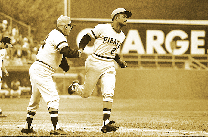 Roberto Clemente rounding the bases after home run in 1971 World Series