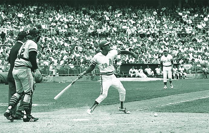 Bert Campaneris throws his bat at Detroit's Lerrin LaGrow in the 1972 ALCS
