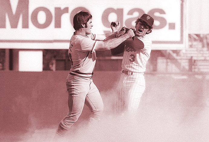 Pete Rose and Bud Harrelson fight in the 1973 NLCS
