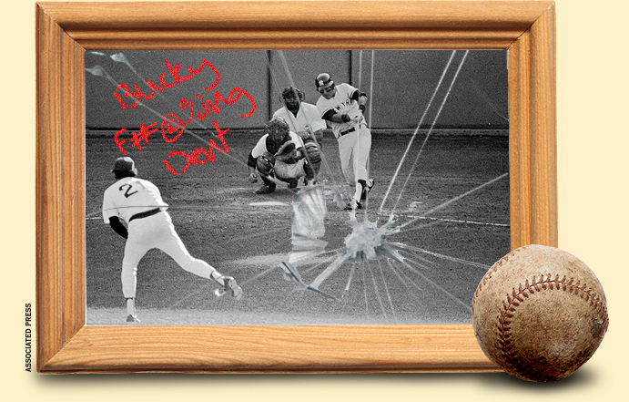 Bucky Dent goes deep in the 163rd game of the year at Boston