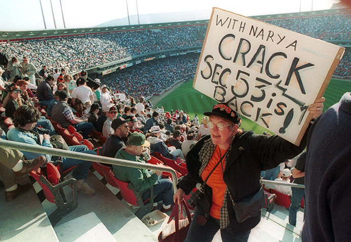 Fans at San Francisco's Candlestick Park for first game after 1989 World Series Earthquake