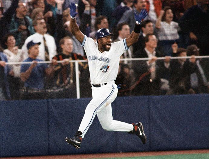 Joe Carter reacts to his 1993 World Series-winning HR