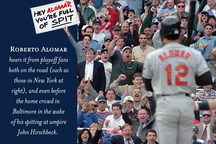 Roberto Alomar faces hostile fans during a playoff game at New York