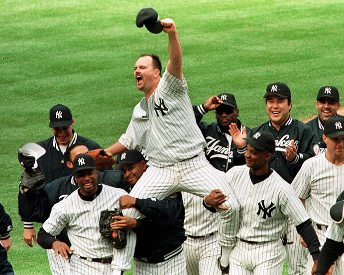 The Yankees' David Wells after throwing a perfect game in 1998