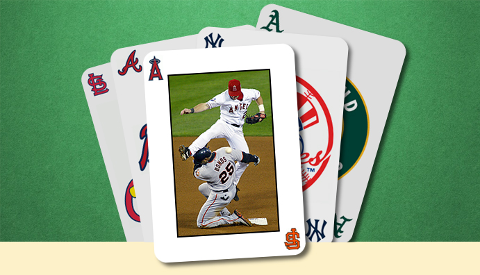 Conceptual image: Stack of playing cards with image of Barry Bonds sliding into second base against the Angels