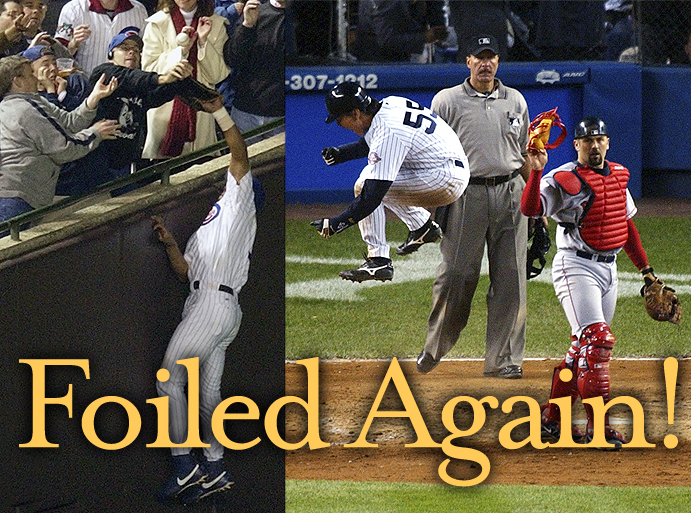 Steve Bartman interrupts Moises Alou's attempted catch; Hideki Matsui scores for Yankees against Boston in 2003 ALCS