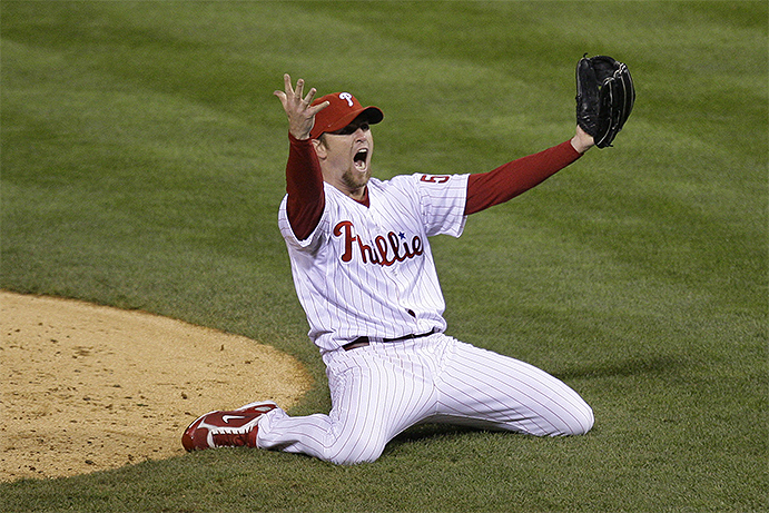 Brad Lidge celebrating last out of 2008 World Series