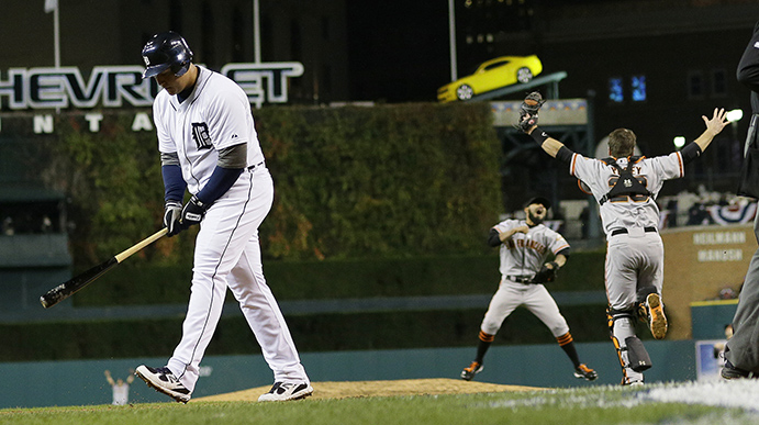 Giants celebrated 2012 World Series triumph as Detroit's Miguel Cabrera walks away after striking out