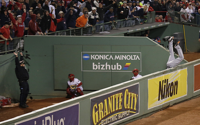 David Ortiz homers, Torii Hunter goes over the wall, policeman Steve Horgan celebrates