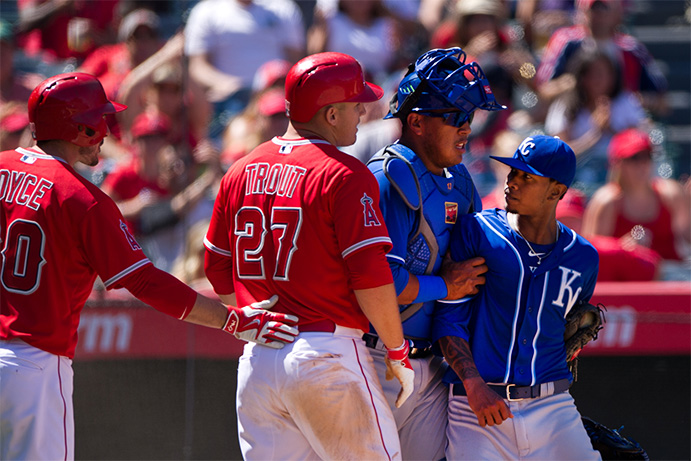 Mike Trout and Yordano Ventura