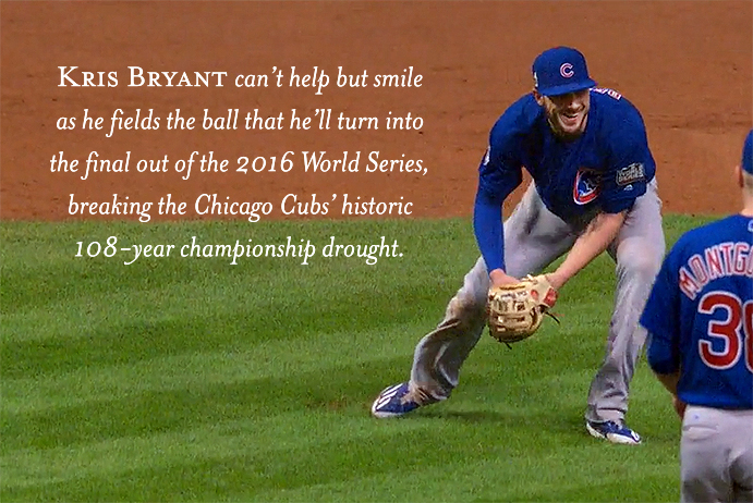 The Cubs' Kris Bryant fields the final out of the 2016 World Series