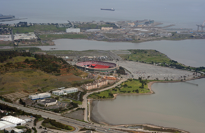 Candlestick Park within its secluded environs