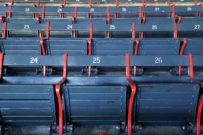 Wooden seats at Fenway Park