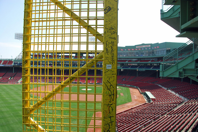 Close-up of Foul Pole inside Fenway Park