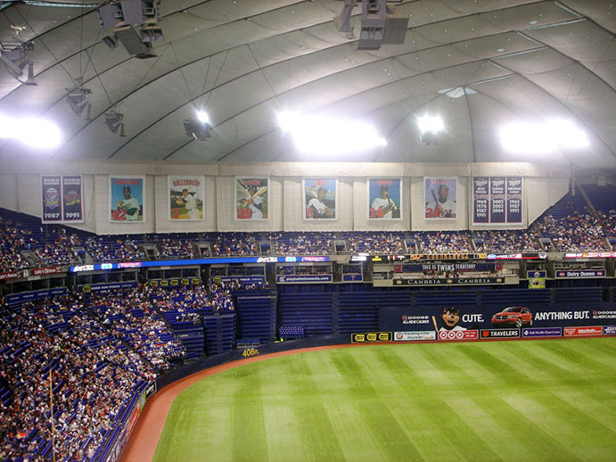 Metrodome Curtain above right field