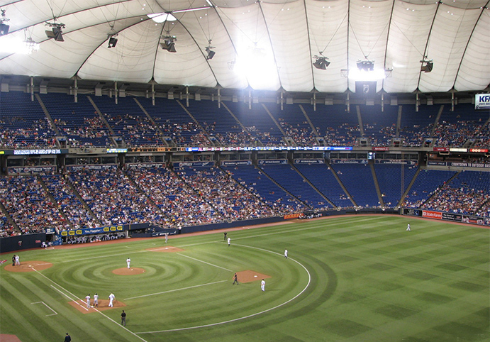 Fake grass with mowing patterns inside Metrodome