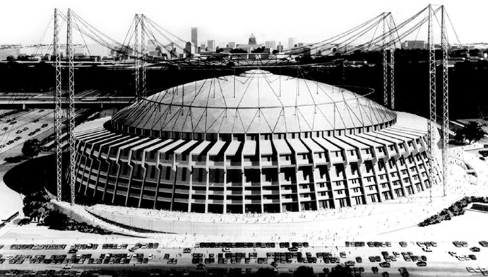 Rendition of roof placed on Atlanta Fulton County Stadium
