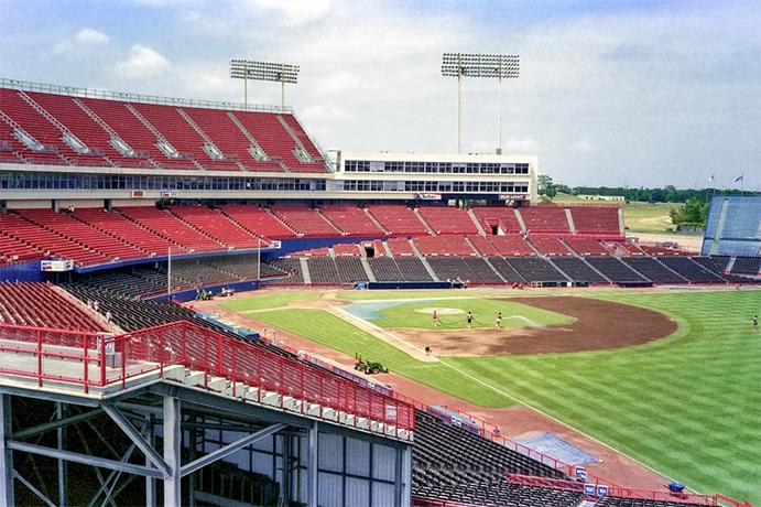 Arlington Stadium, from right field corner