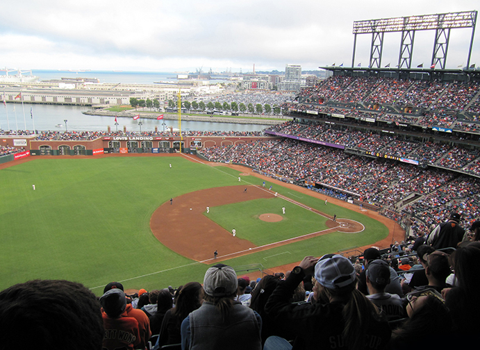 Looking out to right field from the third level of Oracle Park