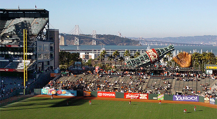 Upper Deck view of Bay Bridge from Oracle Park