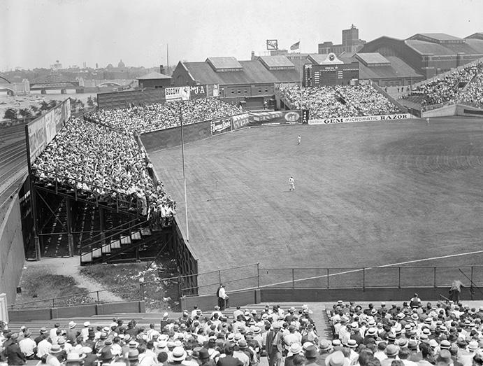 Left Field bleachers at Braves Field
