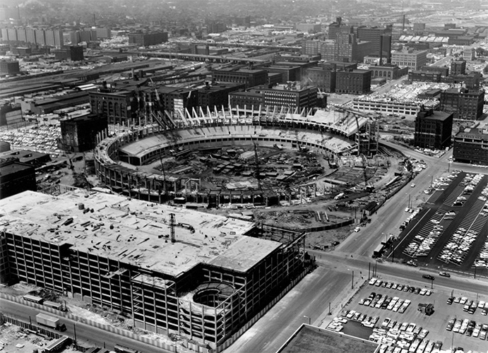 Busch Memorial Stadium under construction