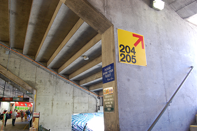 Concourse and section wayfinding at Oakland Coliseum