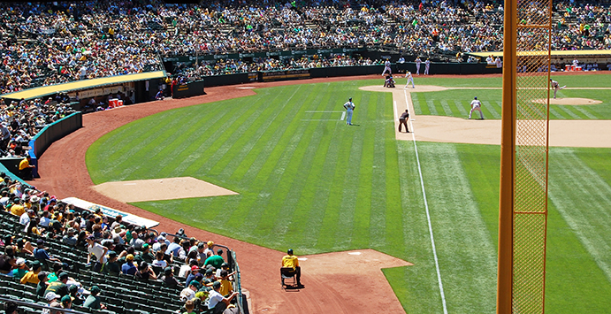 Expansive foul territory at the Oakland Coliseum